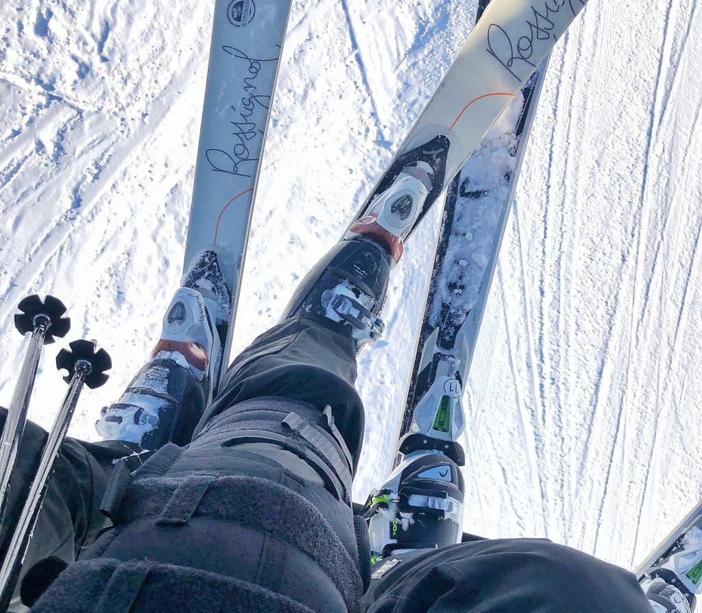 back on skis with knee bracelet